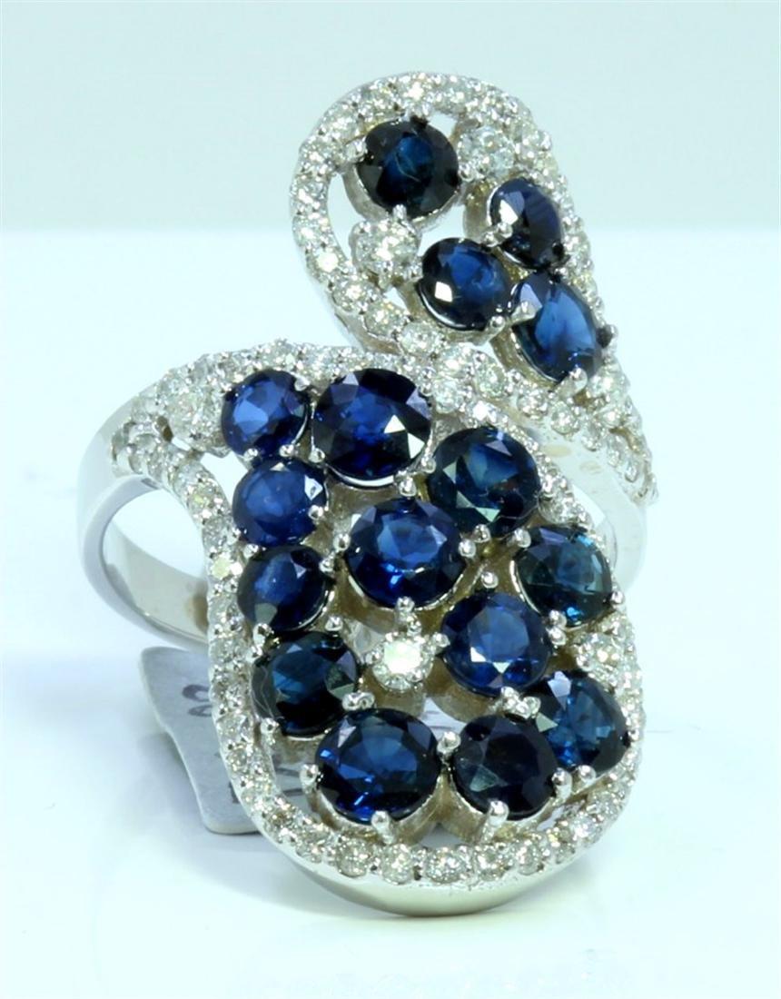 BLUE SAPPHIRE 4.17CT 14K WHITE GOLD RING
