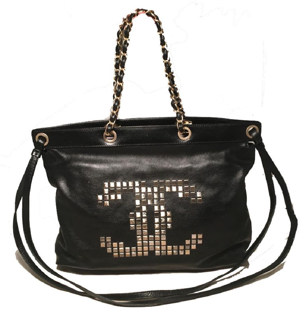 Chanel Black Leather Studded CC Logo Shoulder Bag Tote