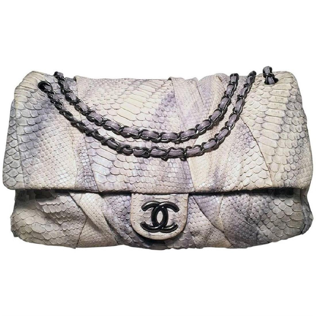 Chanel Rare Natural Snakeskin Python XL Classic Flap