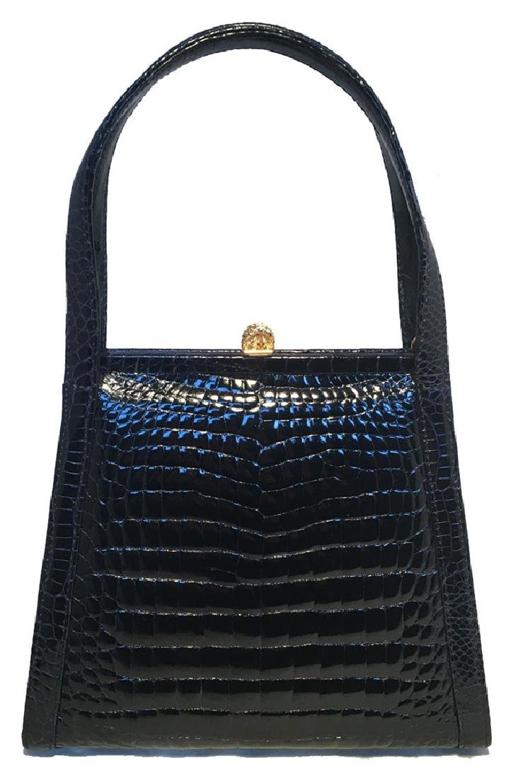 Maxima Vintage Navy Blue Alligator Handbag