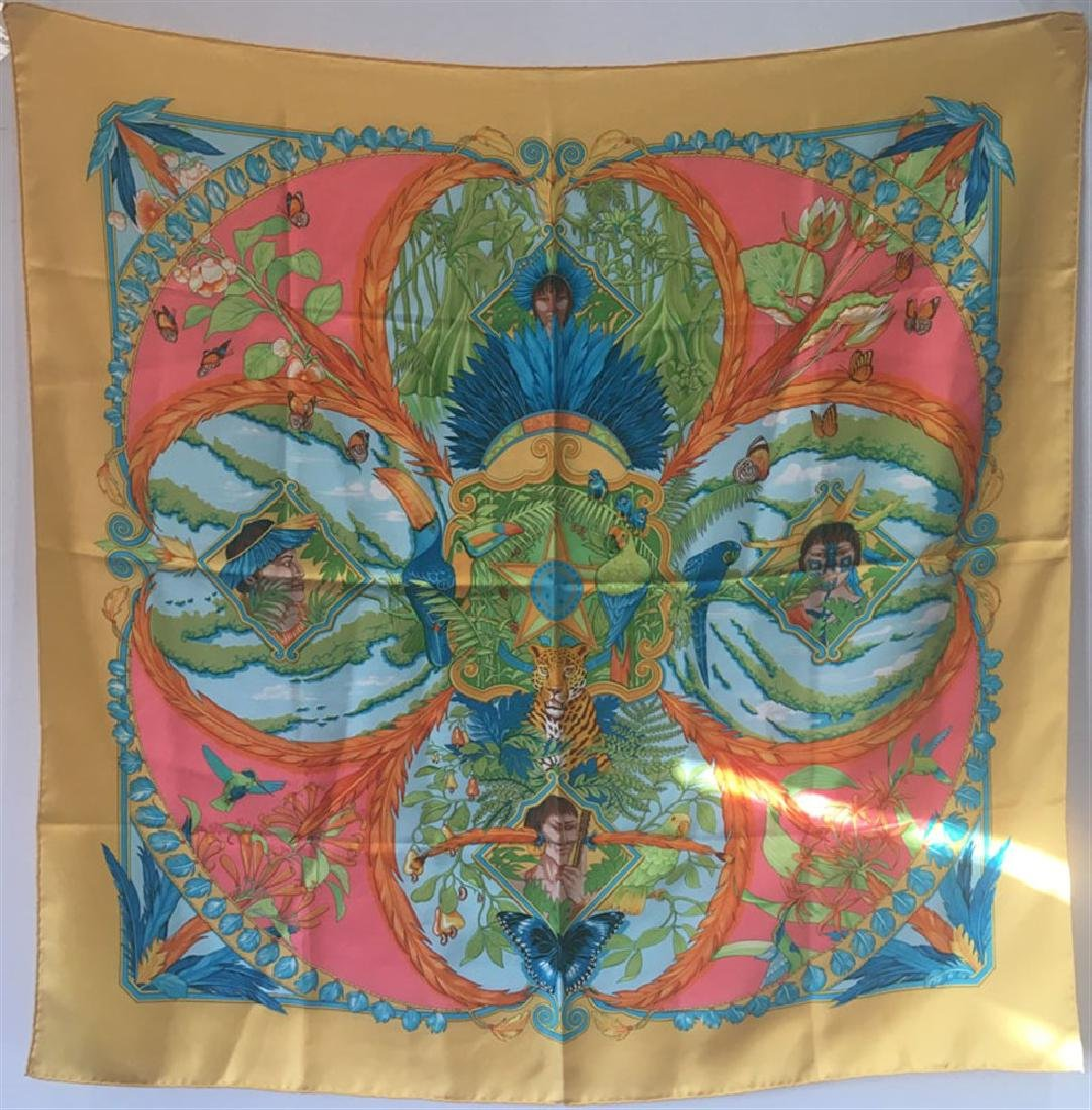 Hermes Amazonia Silk Scarf in Marigold