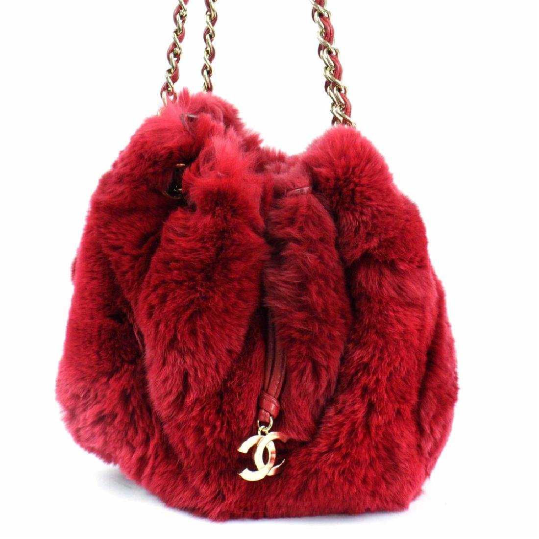 Chanel LIMITED EDITION Red RABBIT FUR CHAIN SHOULDER