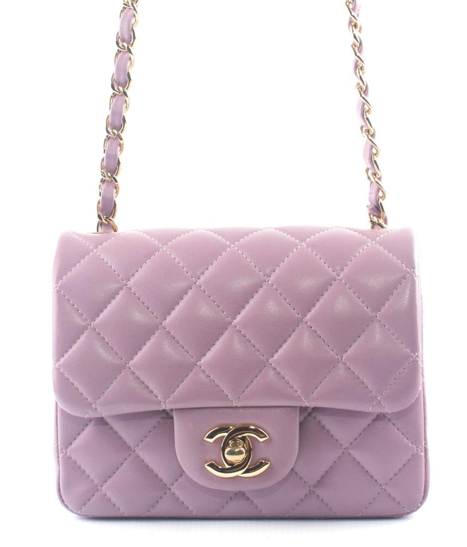 CHANEL Lambskin Quilted Mini Square Flap Light Pink