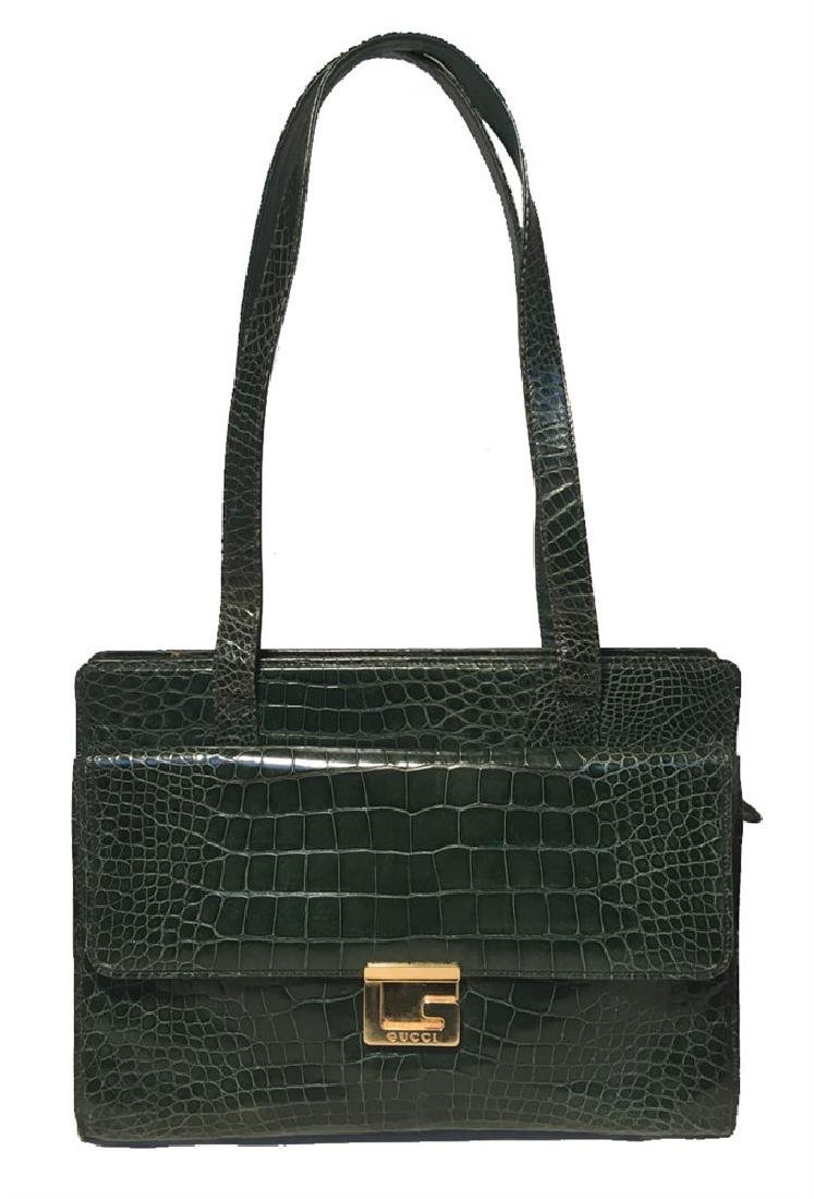 Gucci Vintage Green Alligator Shoulder Bag