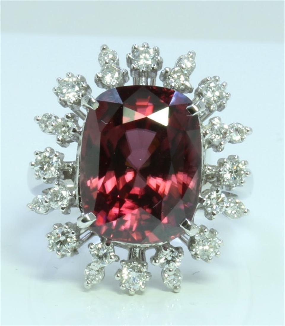 Red Zircon : 12.53ct/14K White Gold Ring : 6g/Diamond :
