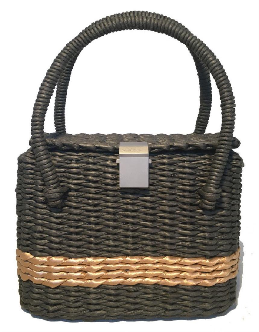 Chanel Charcoal and Tan Wicker Rattan Basket Handbag