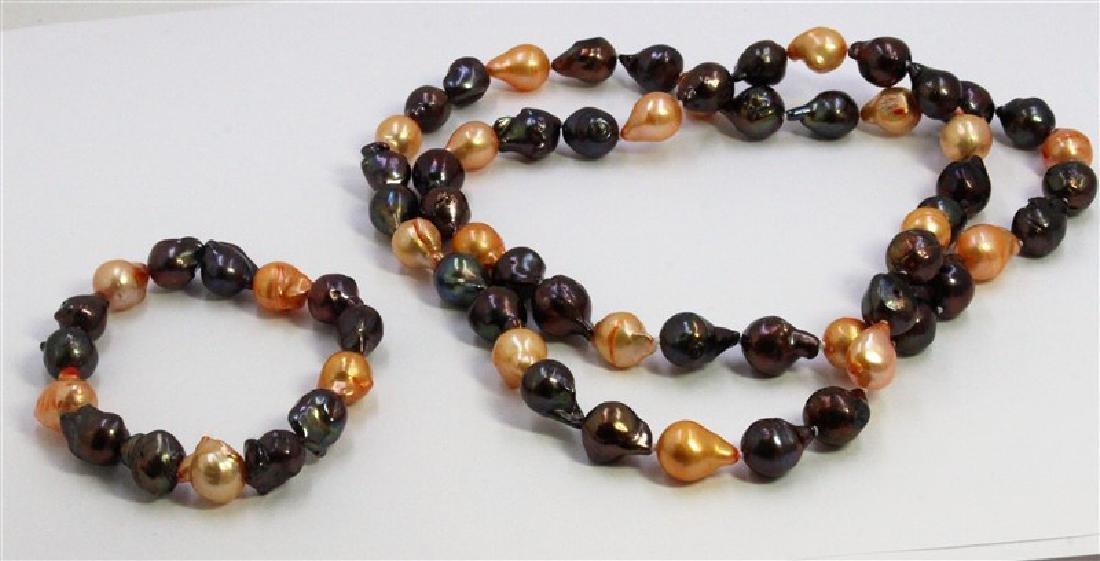 "10-11Mm Necklace Baroque ""32"" Necklace Bracelet ""7.5"""