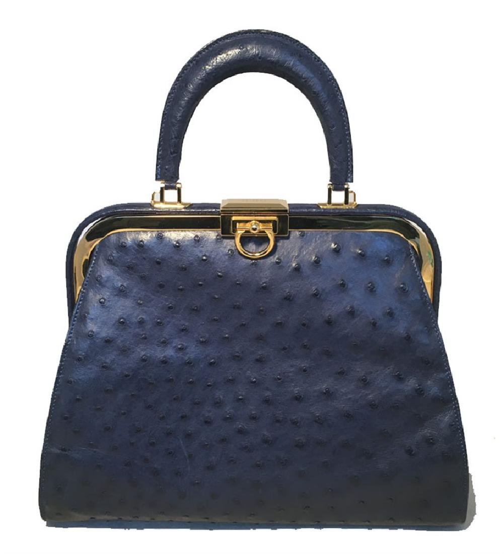 SISO Vintage Blue Ostrich Kelly Bag Handbag
