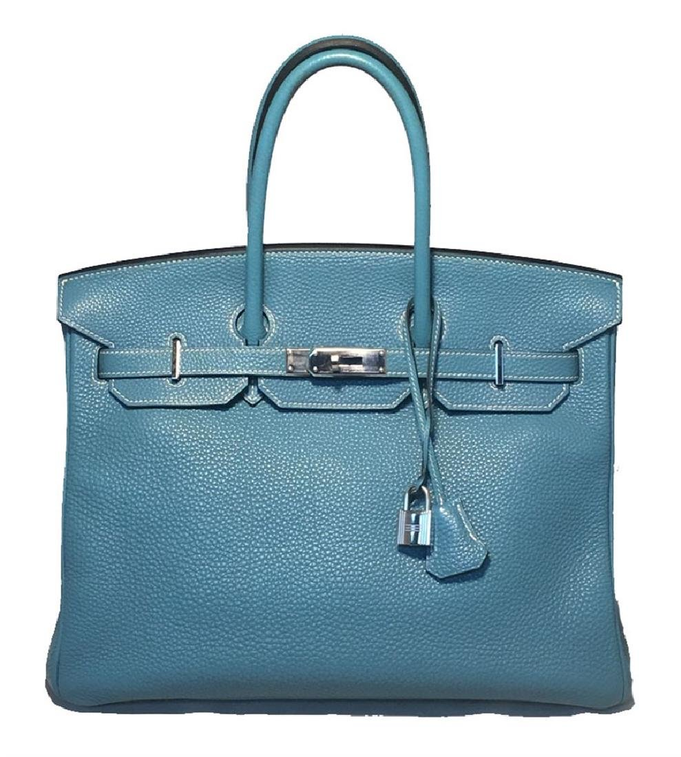 Hermes Blue Jean Clemence Leather 35cm Birkin Bag Phw