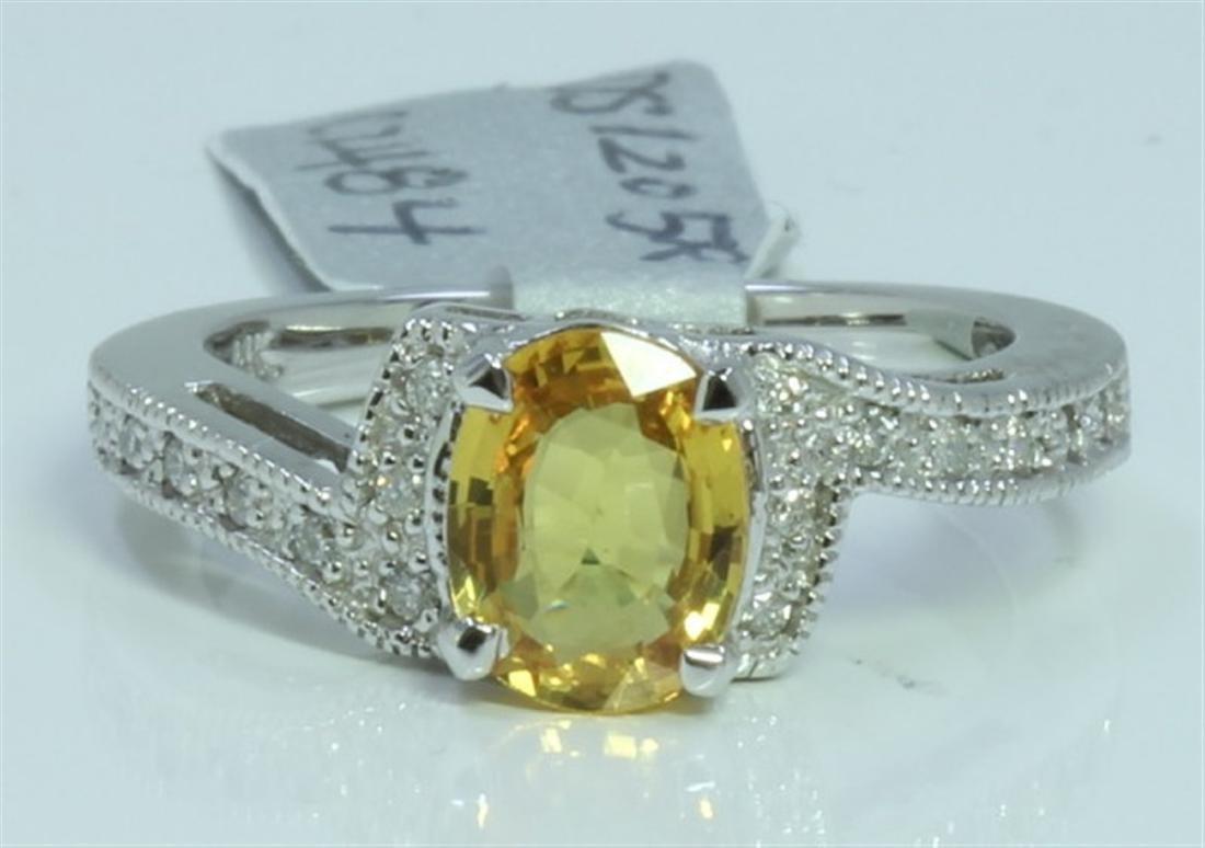 YELLOW SAPPHIRE 1.79CT 14K WHITE GOLD RING 4.44 GRAM
