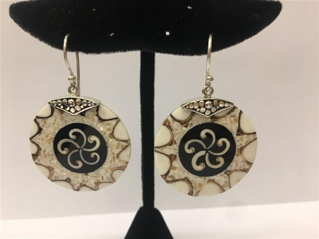 Sterling Silver W/ Resin Round Earring