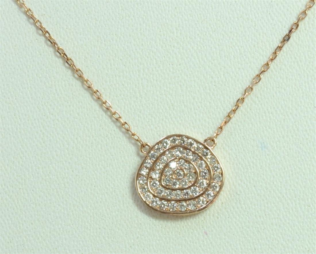 14K ROSE GOLD PENDANT WITH CHAIN 2.66g/Diamond 0.38ct
