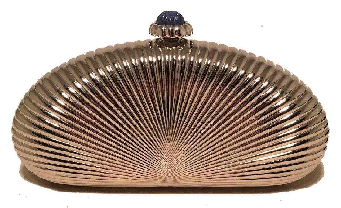 Judith Leiber Silver Metal Shell Evening Bag Clutch