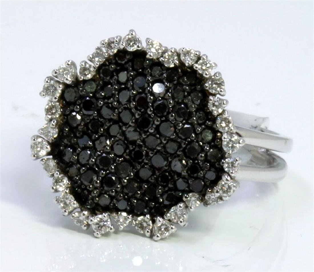 BLACK DIAMOND 0.83CT 14K WHITE GOLD RING 5.00GRAM WHITE