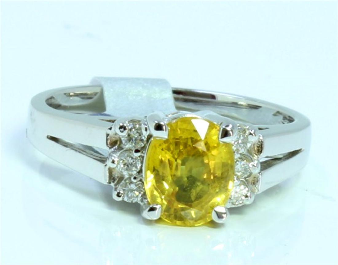 YELLOW SAPPHIRE 1.22CT 14K WHITE GOLD RING