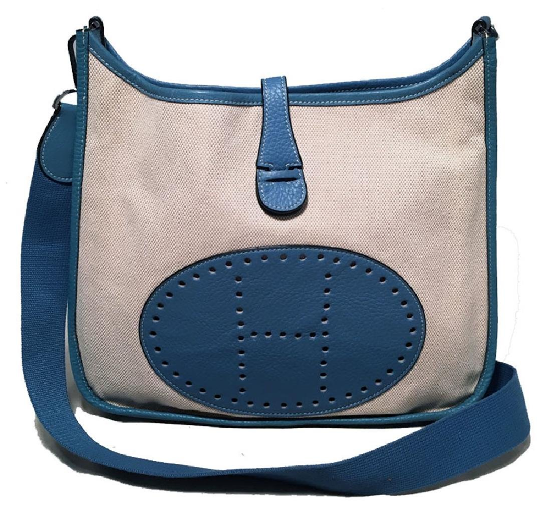 Hermes Toile Canvas and Blue Leather Evelyne II PM