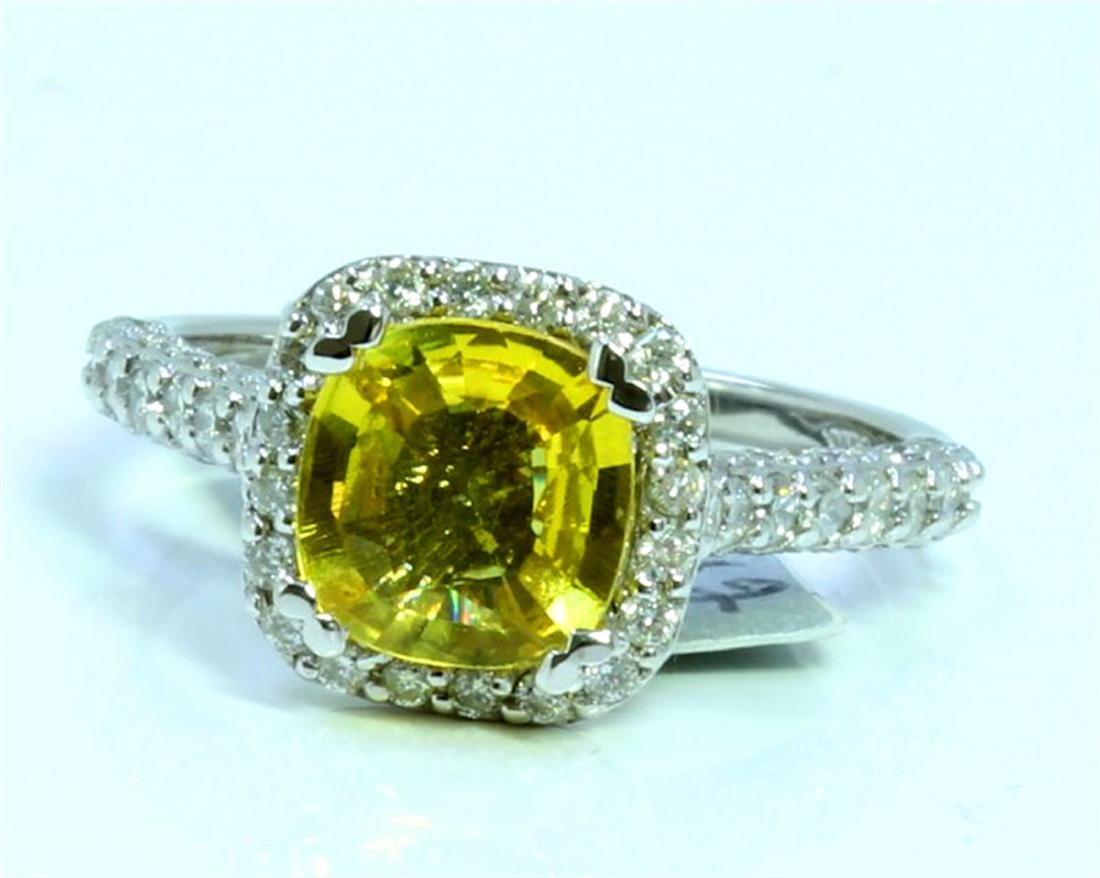 YELLOW SAPPHIRE 1.71CT  14K WHITE GOLD RING