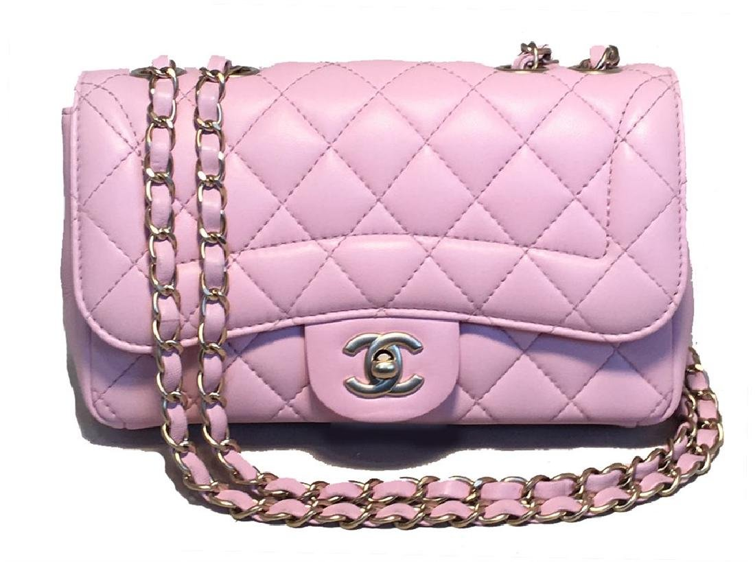 Chanel Lilac Leather Classic Flap Shoulder Bag