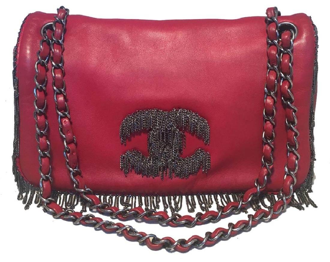 Chanel Red Leather Chain Trim Classic Flap Shoulder Bag