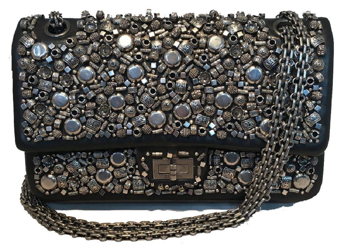 RARE Chanel Black Leather Studded Classic Flap 2.55
