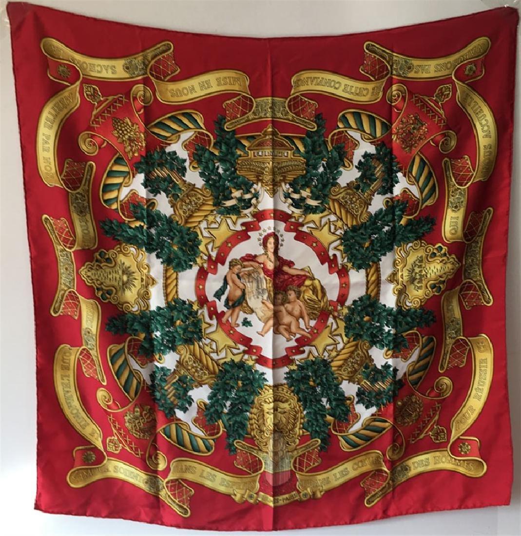 Hermes Vintage Europe Silk Scarf in Red c1993
