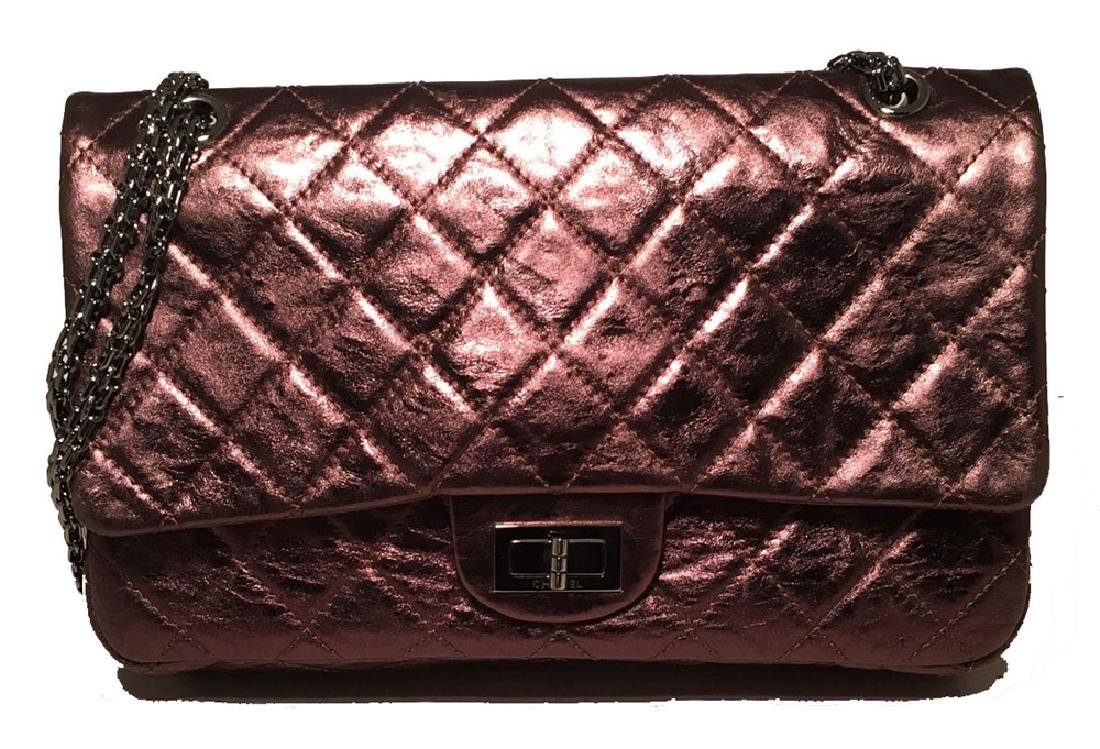 Chanel Bronze Quilted Distressed Leather 2.55 Double