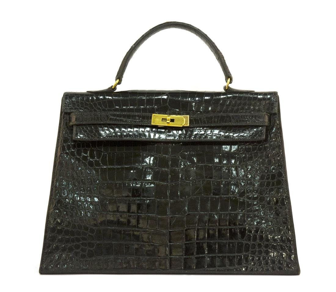 Hermes Kelly 35 Black Crocodile Leather Gold Hardware