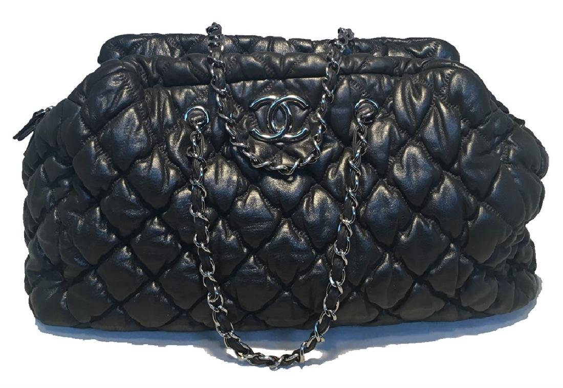 Chanel Quilted Puffy Leather Shoulder Bag Tote