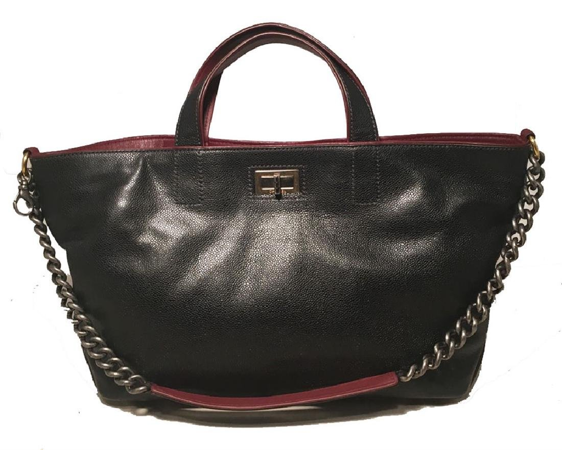 Chanel Black Caviar Maroon Leather Shoulder Bag Tote