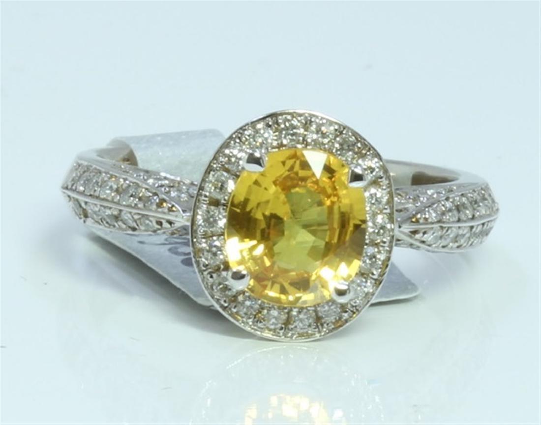 YELLOW SAPPHIRE 1.5CT 14K WHITE GOLD RING 4.8 GRAM