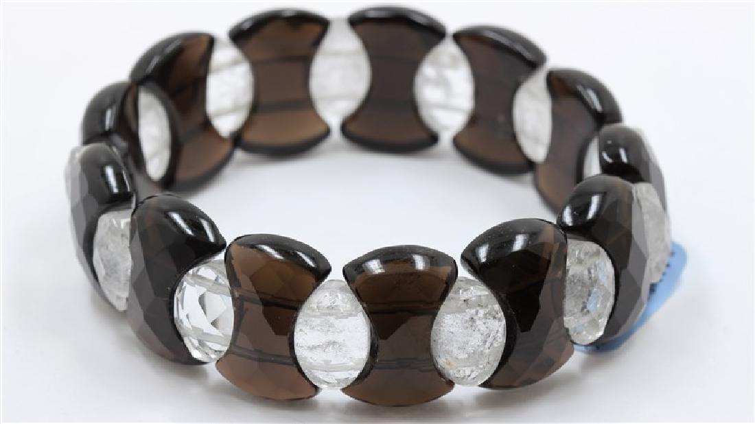 Faceted Fancy Black Agate & Quartz Bracelet