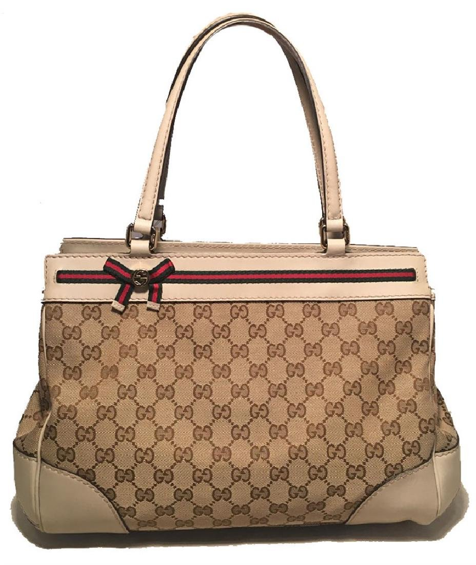 Gucci Beige Monogram and Leather Mayfair Tote Shoulder