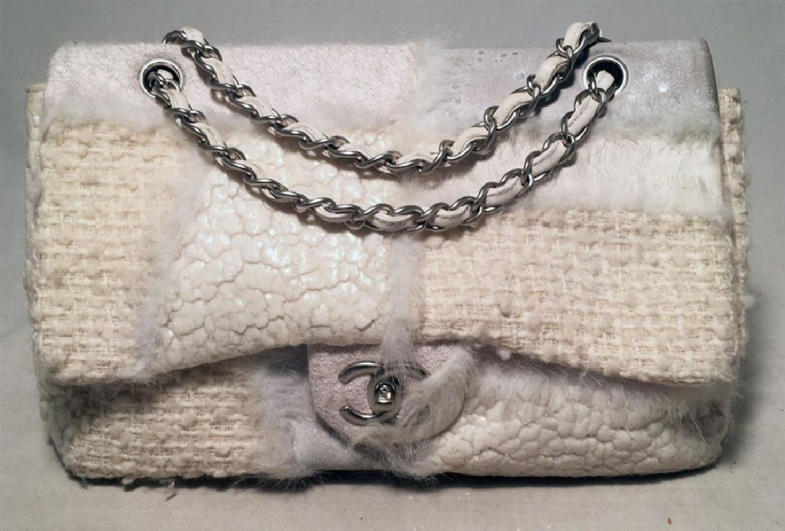 Chanel White Wool and Fur Patchwork Classic Flap