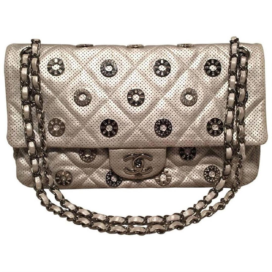 Chanel Silver Perforated Leather Classic Flap with