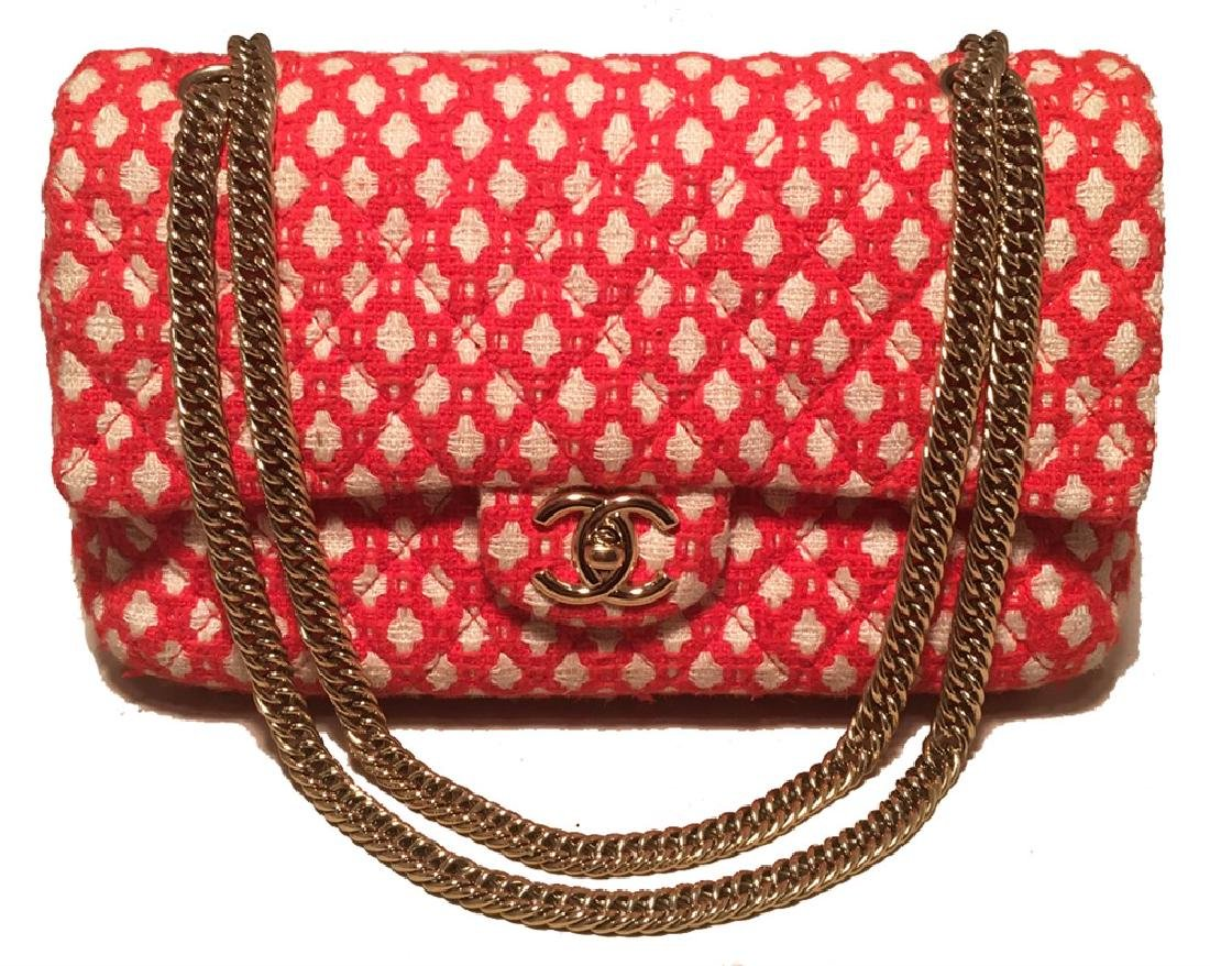 Chanel Red and White Printed Tweed 2.55 Double Flap