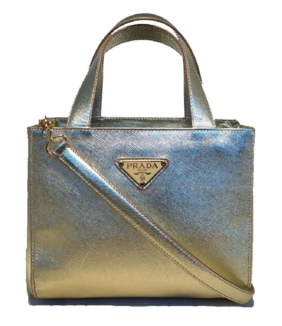 Prada Gold Sharkskin Leather Small Handbag