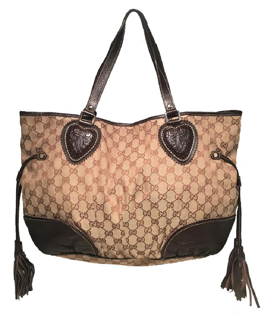 Gucci Monogram Large Tribeca Brown Leather Shoulder Bag