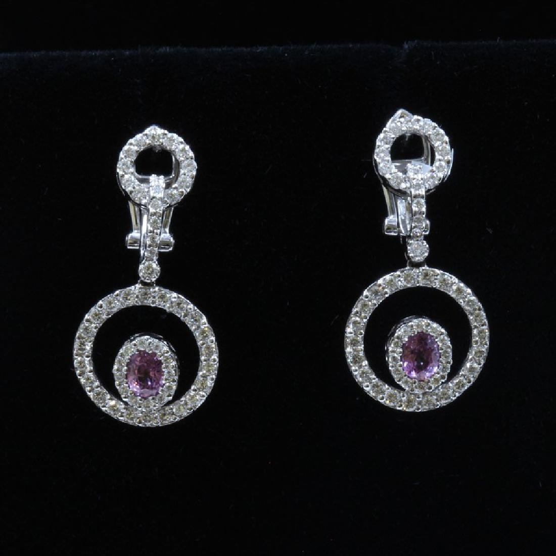 18K White Gold And Diamond Dangling Earring Round Shape