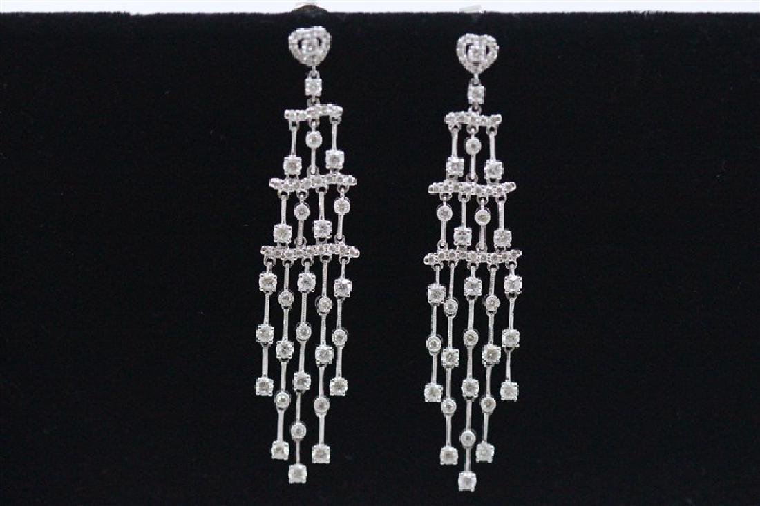 18K White Gold Diamond Earring; Gold-12.70 Grams ;