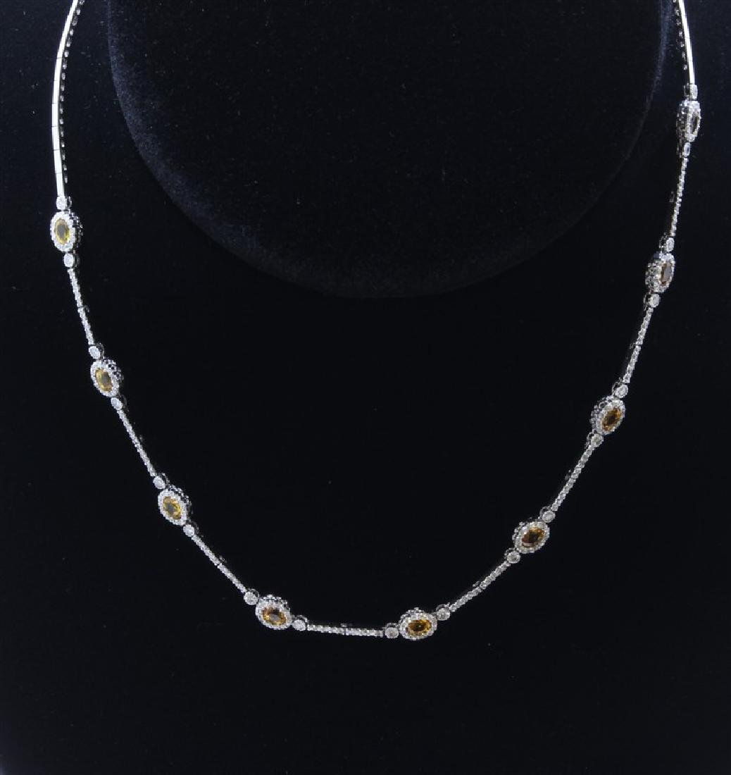 18K White Gold Necklace/Diamond- 1.55ct/Yellow