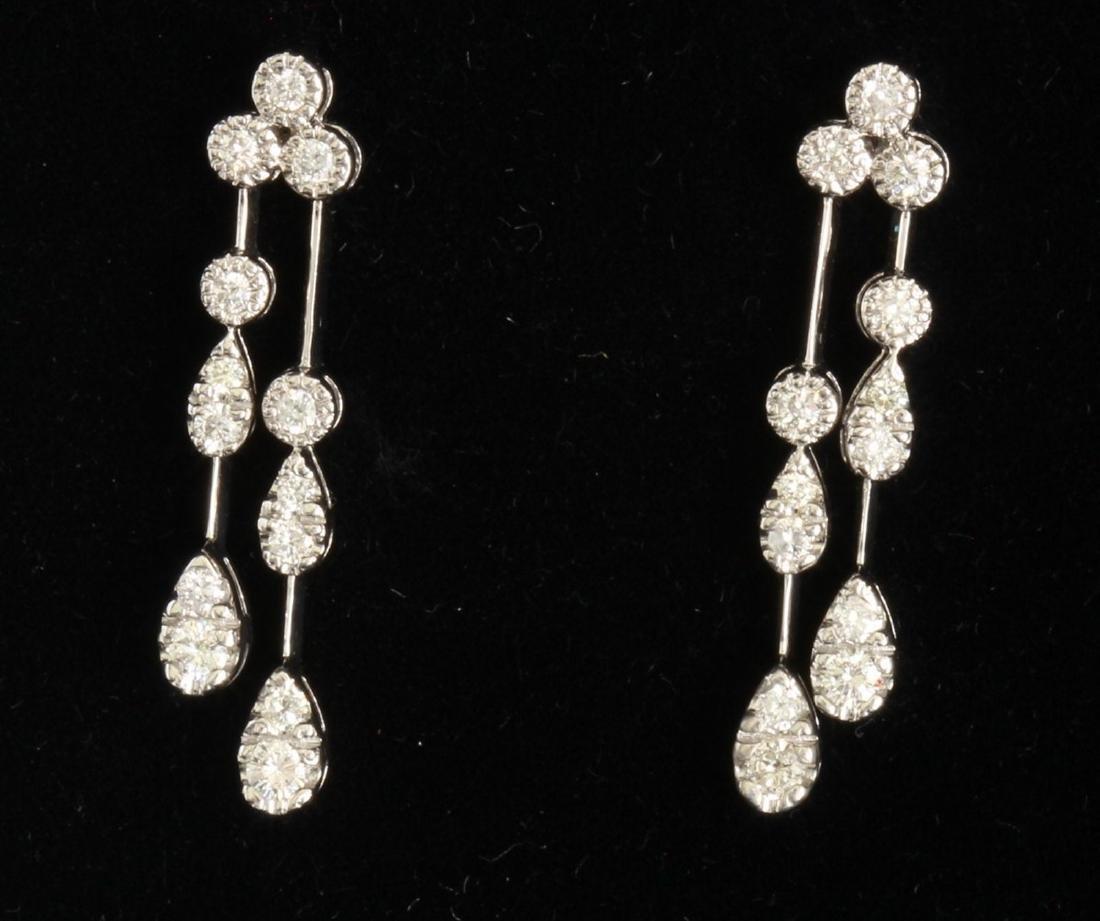 14K WHITE GOLD DIAMOND EARRING:5.13