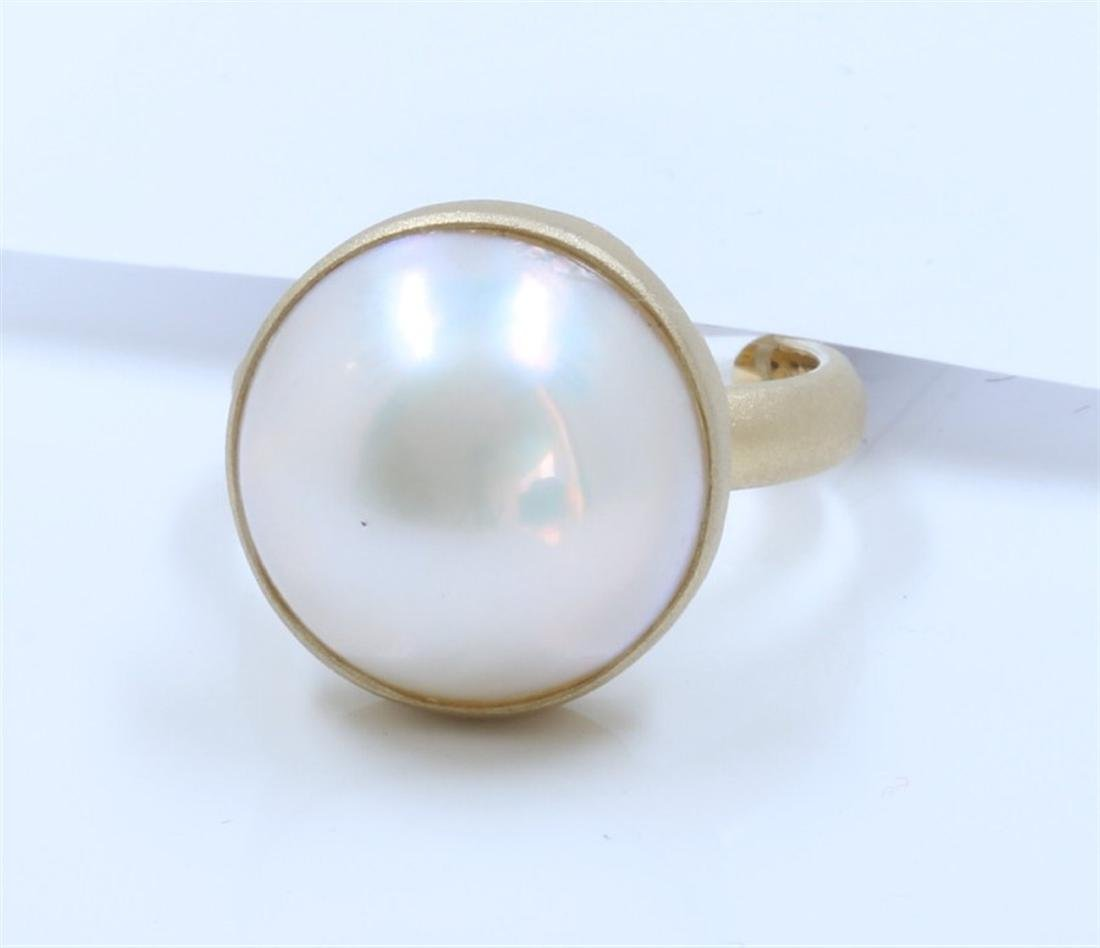 14K Yellow Gold Pearl Ring:5.9g/Pearl