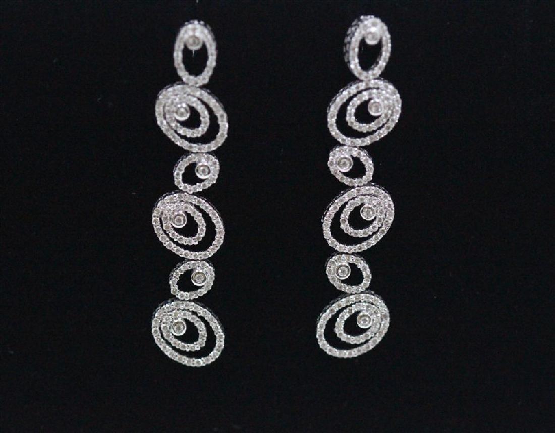 18K White Gold Diamond Earring; Gold-8.75 Grams ;