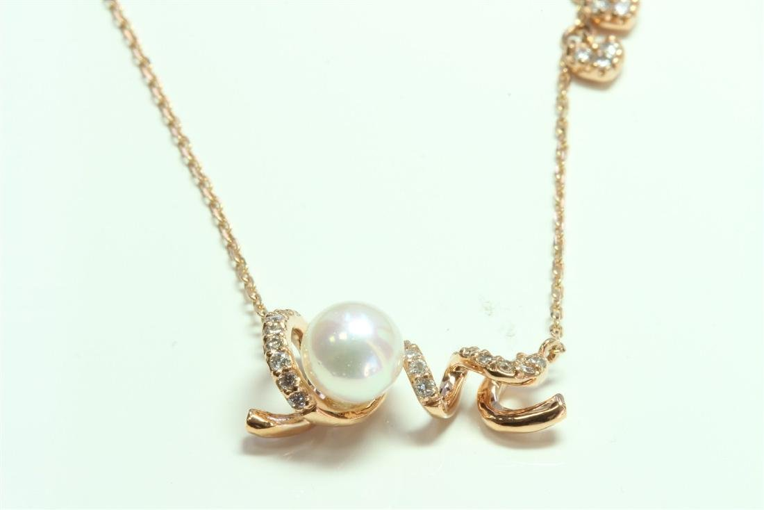 Pearl:1ea/14K Rose gold Pendant:3.06g/Diamond:0.24ct