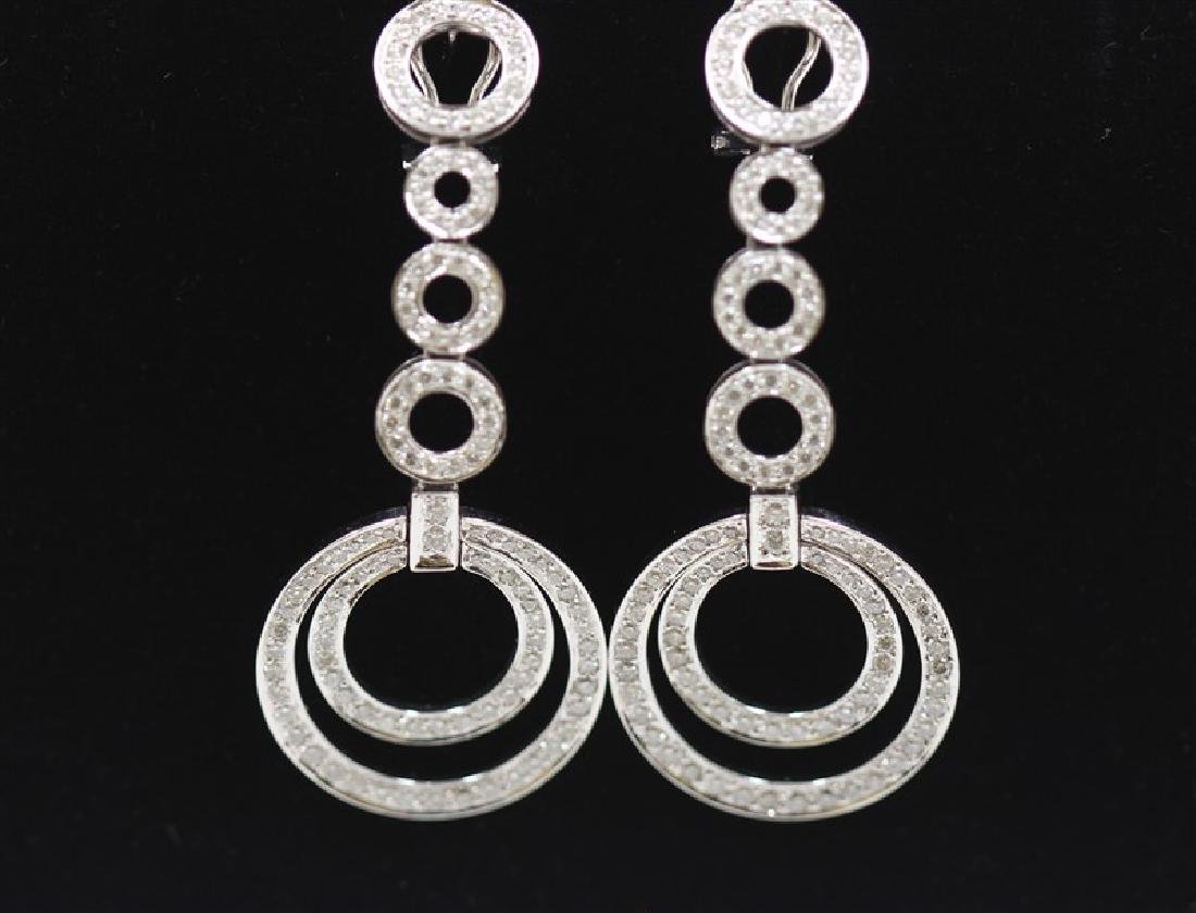 18K White Gold Diamond Earring; Gold-18.01Grams  ;