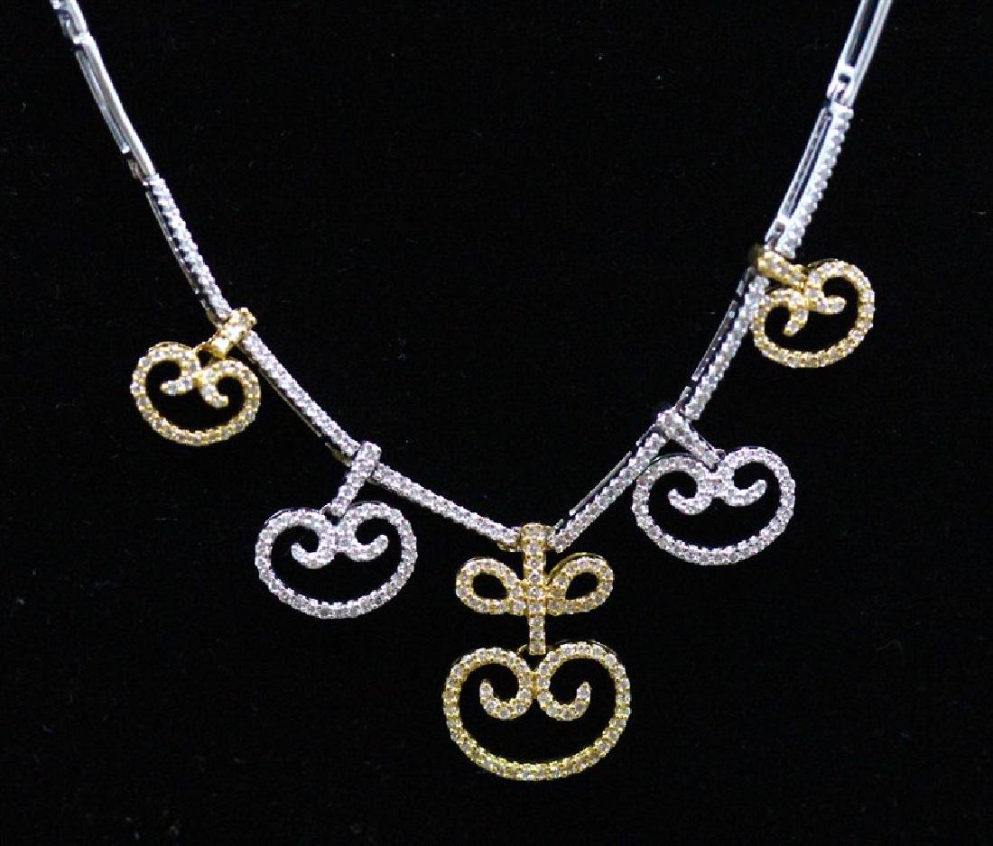 18K White & Yellow Gold ;  Gold Necklace;- 17.10 Grams;