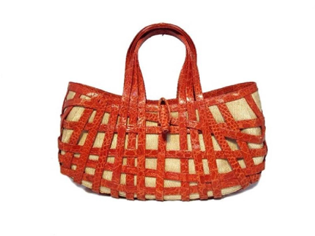 Nancy Gonzalez Crocodile Basket Handbag