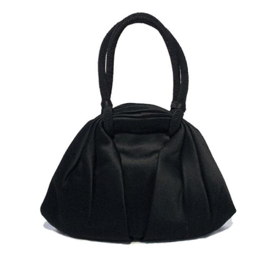 Vintage Collectible 1960's Black Satin Handbag Made in