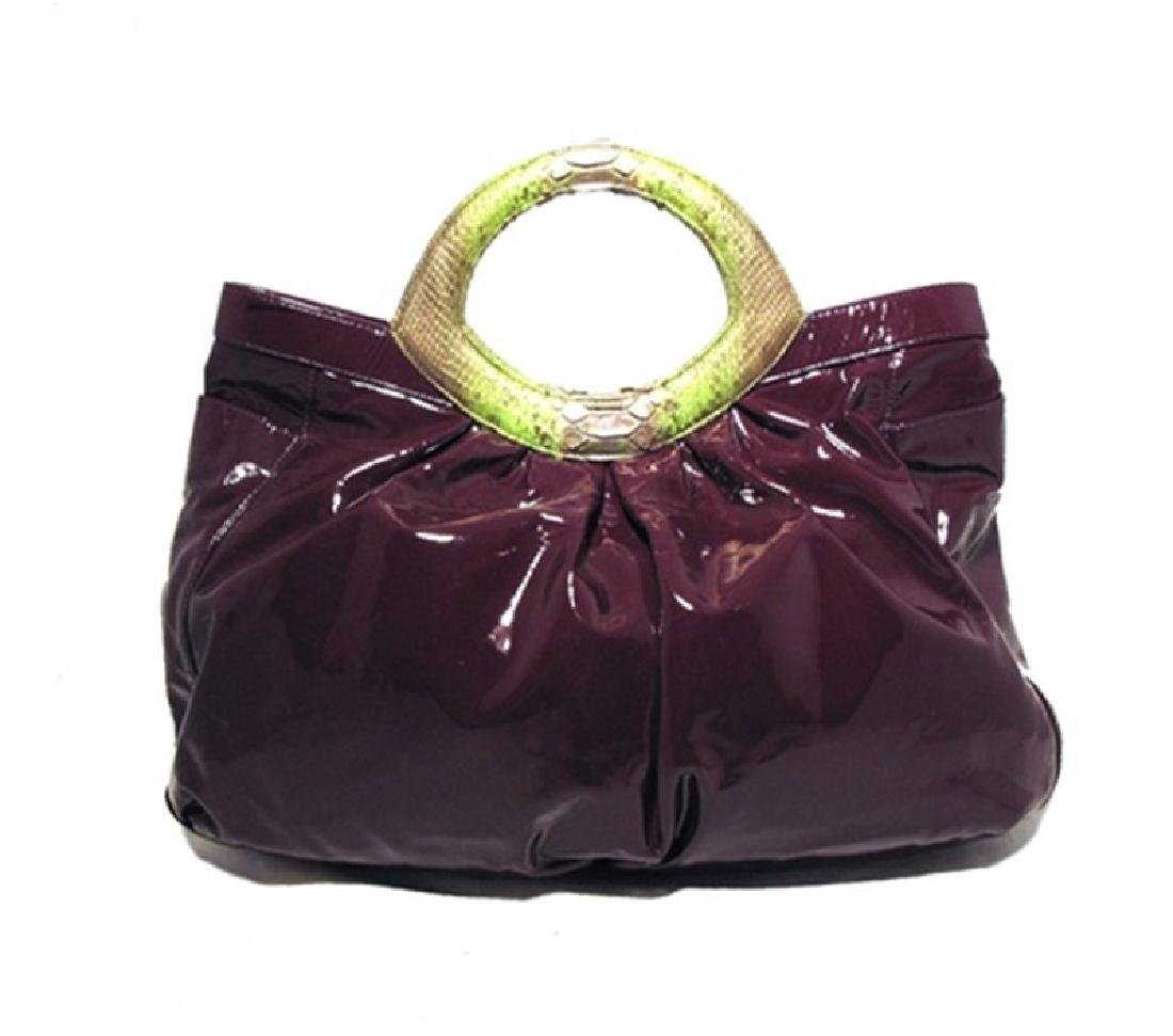 LAI Purple Patent Leather and Python Tote - 2