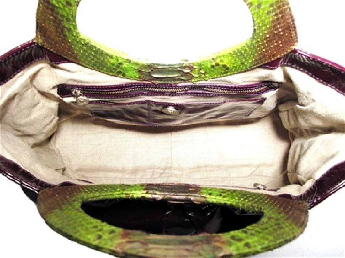 LAI Purple Patent Leather and Python Tote - 4